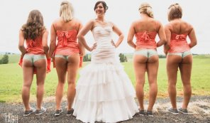 amateur photo Four booties and a bride.