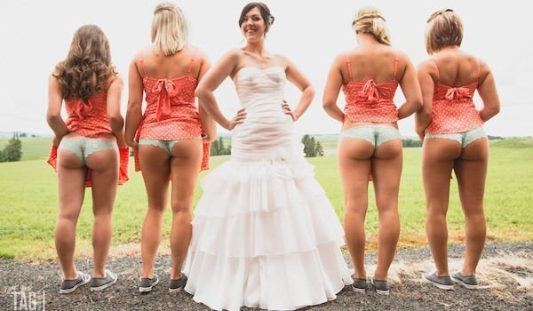 Four booties and a bride. Porn Photo