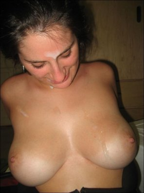 amateur photo Brunette with perfect tits after taking a load.