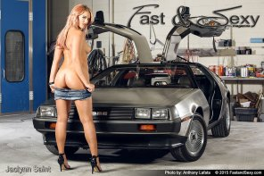 amateur photo Hot blonde ass competes with DeLorean for attention