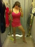amateur photo Trying on a pink dress