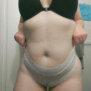 amateur photo White lace panties caressing my curves😜
