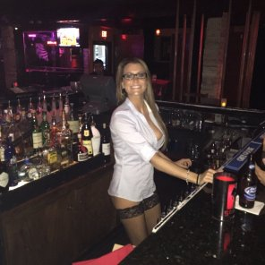amateur photo Bartender With an Open Shirt - Nice Titty Peek