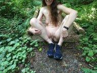 My wife taking a break on a hike.