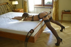 amateur photo Bent over the bed