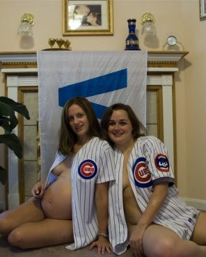 amateur photo Two Preggo Cubbies Fans