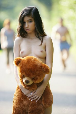 amateur photo Nika and her teddy bear