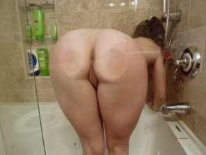 amateur photo Cheeks pressed against the glass.