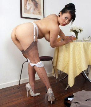amateur photo Asian woman in seamed stockings