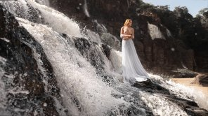 amateur photo White Dress at a Waterfall