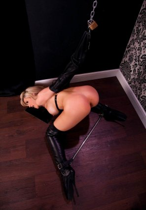 amateur photo Locked in an Armbinder and Spreader Bar