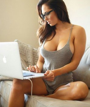 amateur photo On her laptop
