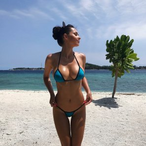 amateur photo Helga Lovekaty in a blue bikini