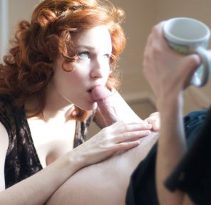 amateur photo Full Morning Treatment For Hubby Before Work, Coffee and a Blowjob