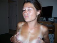 amateur photo Smug Brunette Covered In Cum!