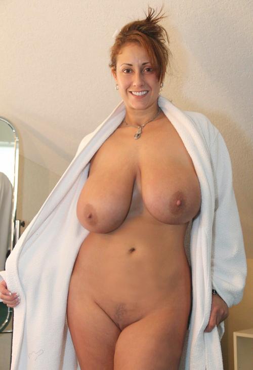 Naked milf in robe