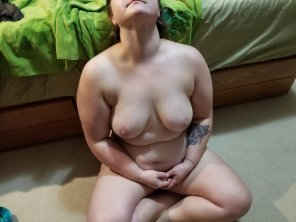 amateur photo [Image] Ready for her cum covering