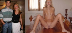 amateur photo Skinny hotty on/off on the table