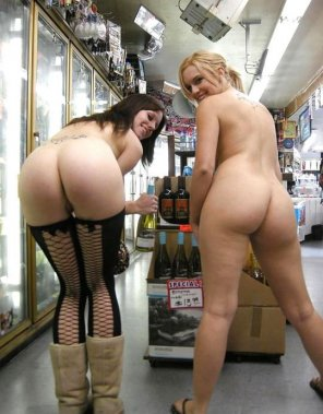 amateur photo Naked in the booze store.