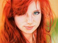amateur photo Redhead Girl by Samuel Silva, ballpoint pen on paper