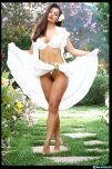 amateur photo Aria Giovanni lifting her summer dress