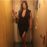 Thick MILF in tight black dress