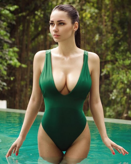 Green One-Piece Porn Photo
