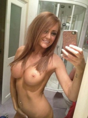 amateur photo Showing them off in the mirror