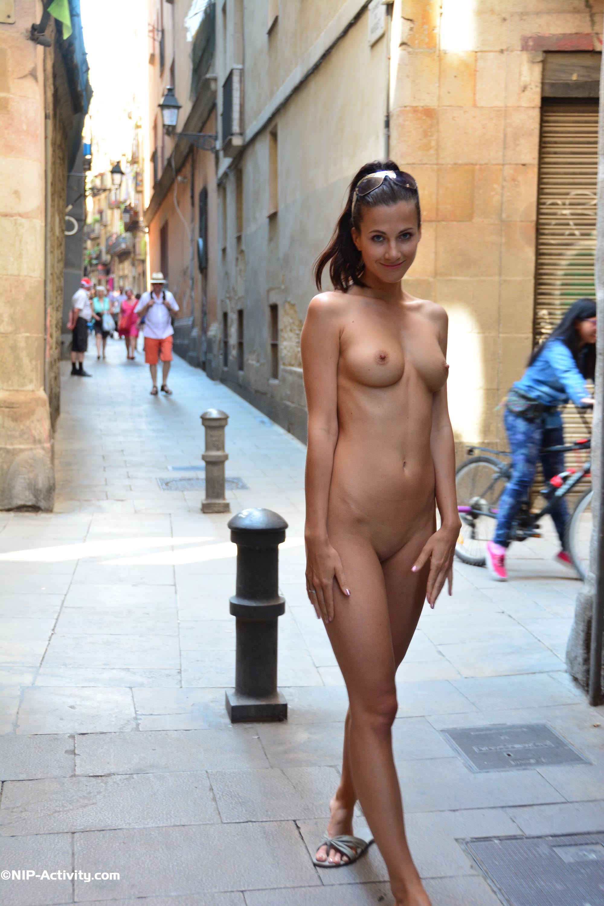 Naked small girls in street