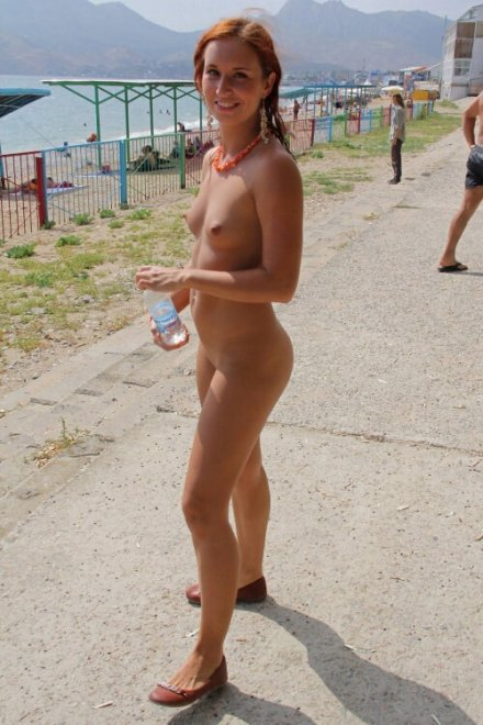 Ginger nude in public Porn Photo