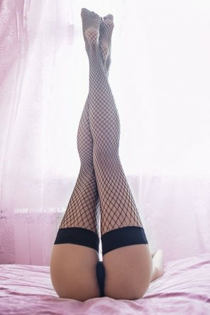 amateur photo Fishnets on up