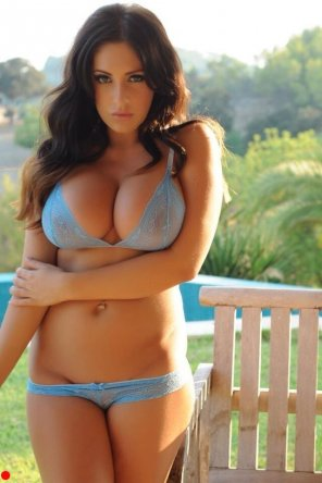 amateur photo Outside in her matching blue bra and panties