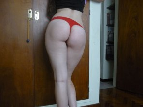 amateur photo Red thong