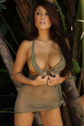 amateur photo Justene Jaro wearing a mesh outfit