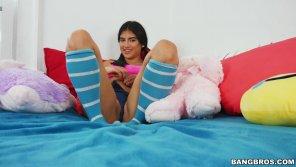 amateur photo Cute latina with blue striped socks