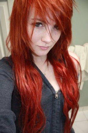amateur photo Long red hair