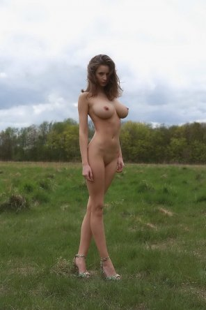 amateur photo Busty girl in field