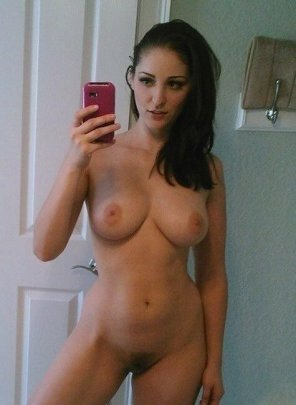 amateur photo brown hair, pink phone, nice boobs and a bush
