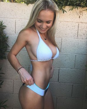 amateur photo Petite Katie showing off her bikini body