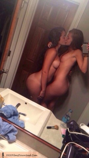 amateur photo Two Hot Lesbian Teens Kissing In the Mirror