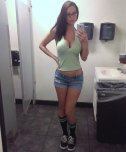 amateur photo Cleavage, glasses, shorts and striped socks....wow