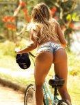 amateur photo Hot girl on a bike.