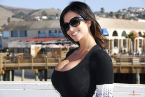 amateur photo Denise Milani in a dress