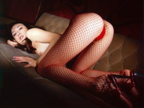 amateur photo Very hot asian in fishnets, panties and high heels.