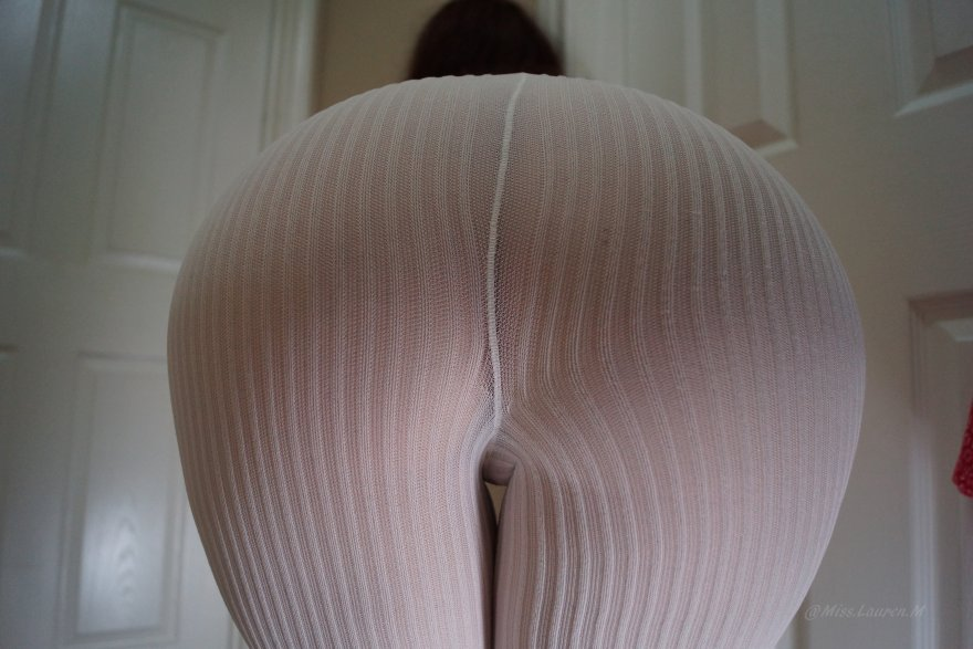My favorite shot of my ass; in white tights. Porn Photo