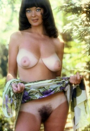amateur photo Vintage nudist with big tits hairy pussy and extreme tan lines