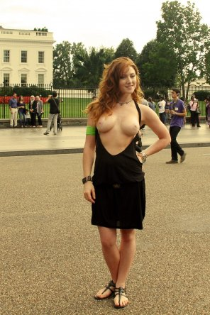 amateur photo Tits out in front of the White House