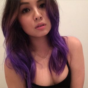 amateur photo Purple-haired Asian.