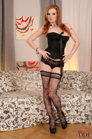 amateur photo Another ginger in lacy fishnets and corset.