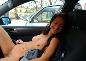amateur photo Blushing in the car